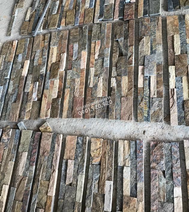 Đá que ghép nâu vân gỗ kích thước 10x50cm