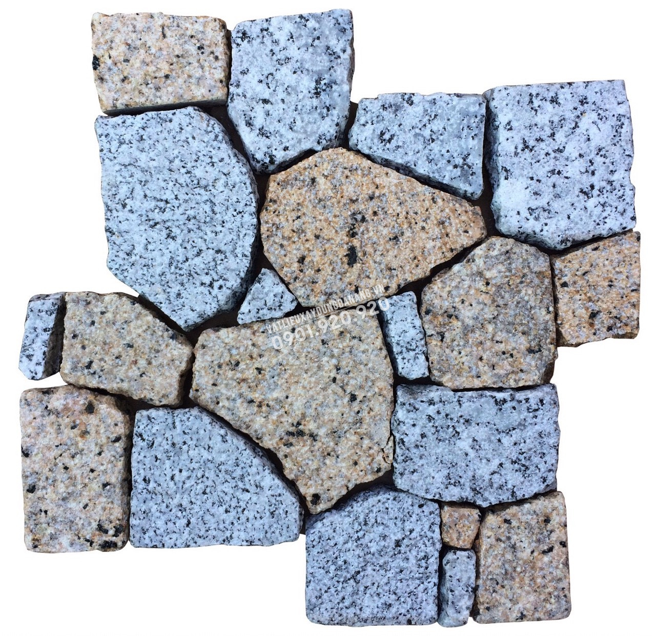đá mosaic vàng băm trắng