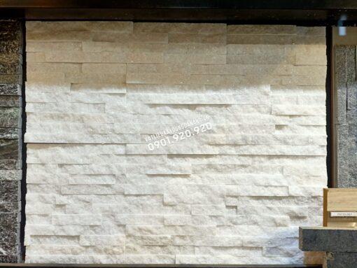 Đá ghép trắng Bạch Tuyết có ánh kim, khổ 10x50cm (1)